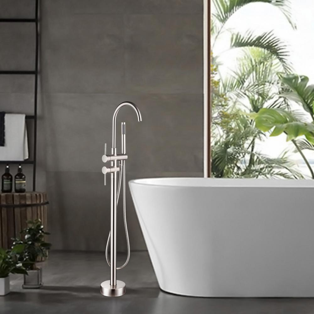 Vanity Art 46 in. H x 11 in. W Single Handle Claw Foot Tub Faucet with Hand Shower in Brushed Nickel was $418.0 now $250.8 (40.0% off)