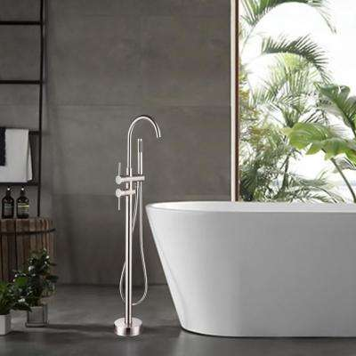 46 in. H x 11 in. W Single Handle Claw Foot Tub Faucet with Hand Shower in Brushed Nickel
