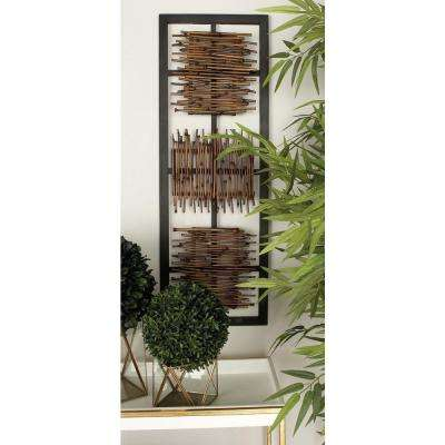 38 in. x 13 in. Modern MDF Wall Panel with Abstract Rustic Bamboo Stick Art in Matte Finish (2-Pack)
