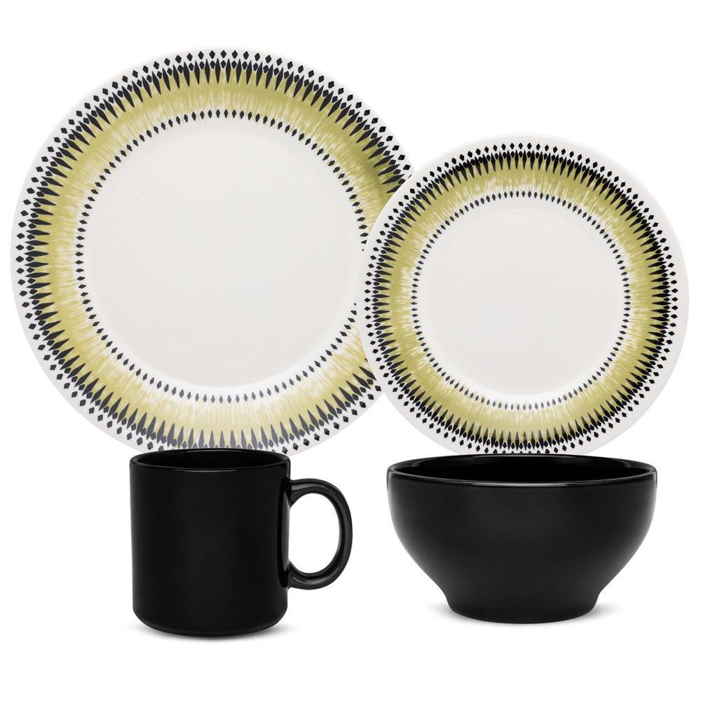 Manhattan Comfort Actual Green and Black 32-Piece Casual Green and Black Earthenware Dinnerware Set (Service for 8) was $239.99 now $151.03 (37.0% off)