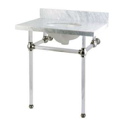 Washstand 30 in. Console Table in Carrara White with Acrylic Legs and Connectors in Satin Nickel