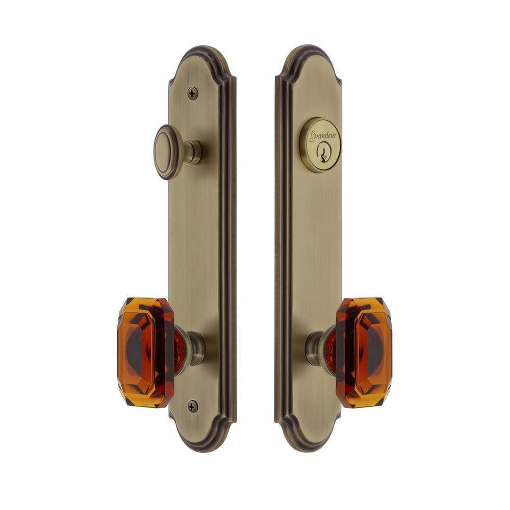 Arc Tall Plate 2-3/8 in. Backset Vintage Brass Door Handleset with Baguette Amber Door Knob