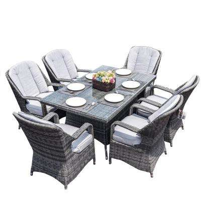 Alisa Gray 7-Piece Aluminum Wicker Rectangle Outdoor Dining Set with Gray Cushions