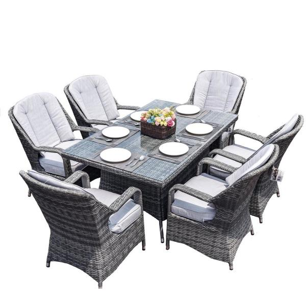 Direct Wicker Alisa Gray 7 Piece Aluminum Wicker Rectangle Outdoor Dining Set With Gray Cushions Pad 1712 Gray The Home Depot