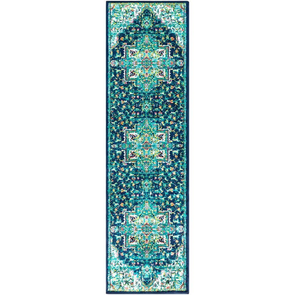 Sora Teal 2 ft. 2 in. x 7 ft. 6 in. Oriental Runner Rug