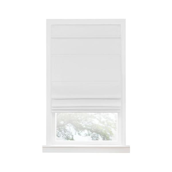 Florence White Cordless Blackout Pleated Polyester Roman Shades 35 in. W x 64 in. L