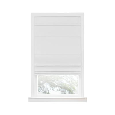 White Cordless Blackout Easy Care Polyester Roman Shades 36 in. W x 64 in. L