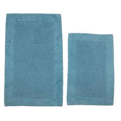 Aqua 20 in. x 30 in. and 21 in. x 34 in. Naples Bath Rug Set (2-Piece)