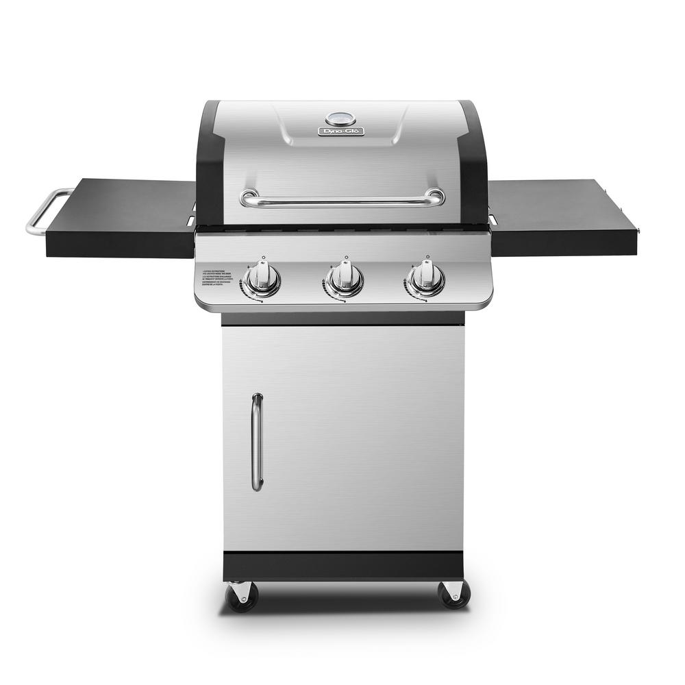 Dyna Glo Premier 3-Burner Natural Gas Grill in Stainless Steel with Folding Side Tables