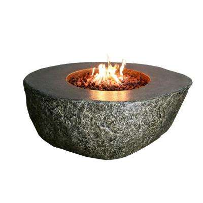 Fiery Rock 50 in. Round Eco-Stone Propane Fire Pit in Natural Brown