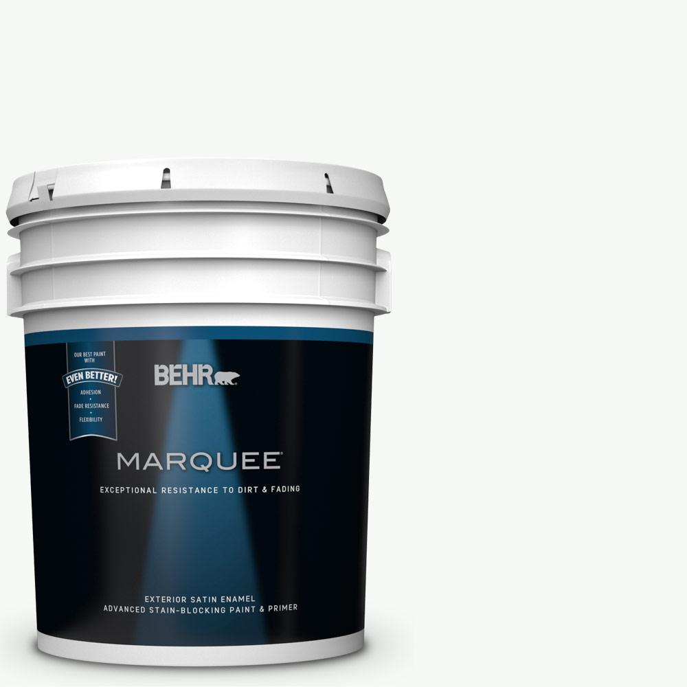 BEHR MARQUEE 5 gal. #PR-W15 Ultra Pure White Satin Enamel Exterior Paint and Primer in One