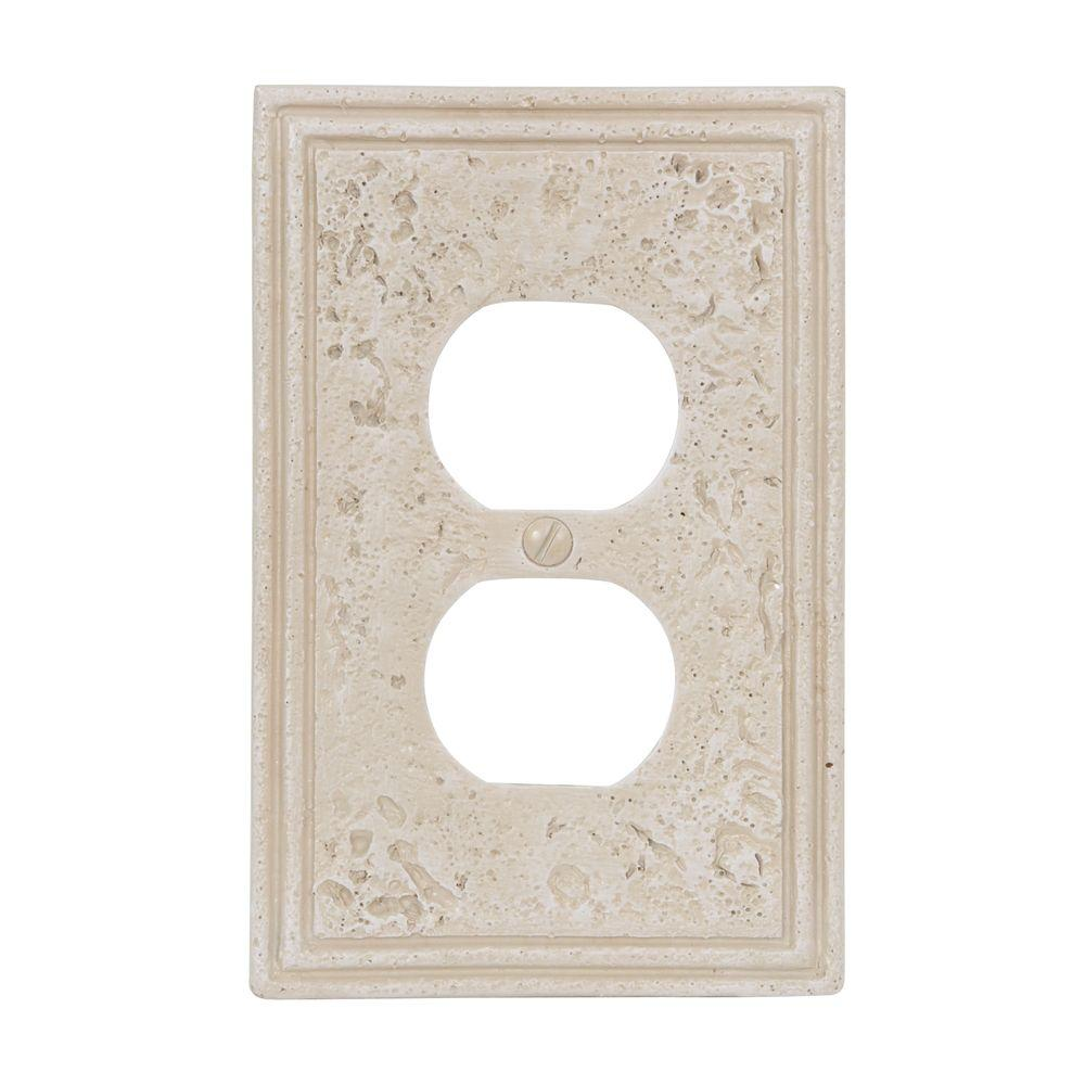 Amerelle Texture Stone 1 Duplex Wall Plate - Almond