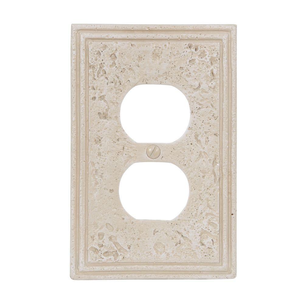 Texture Stone 1 Duplex Wall Plate - Almond