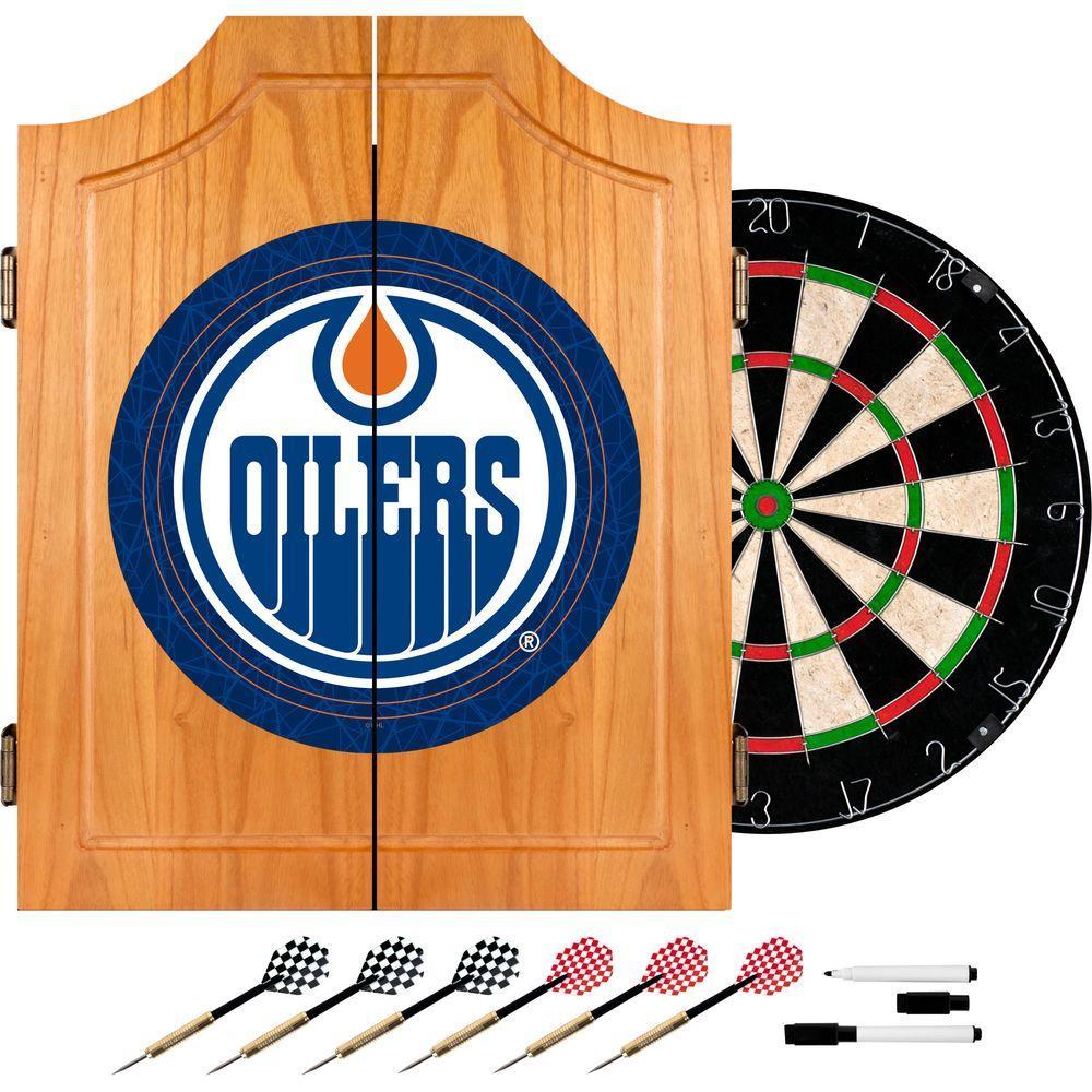 Trademark NHL Edmonton Oilers Wood Finish Dart Cabinet Set