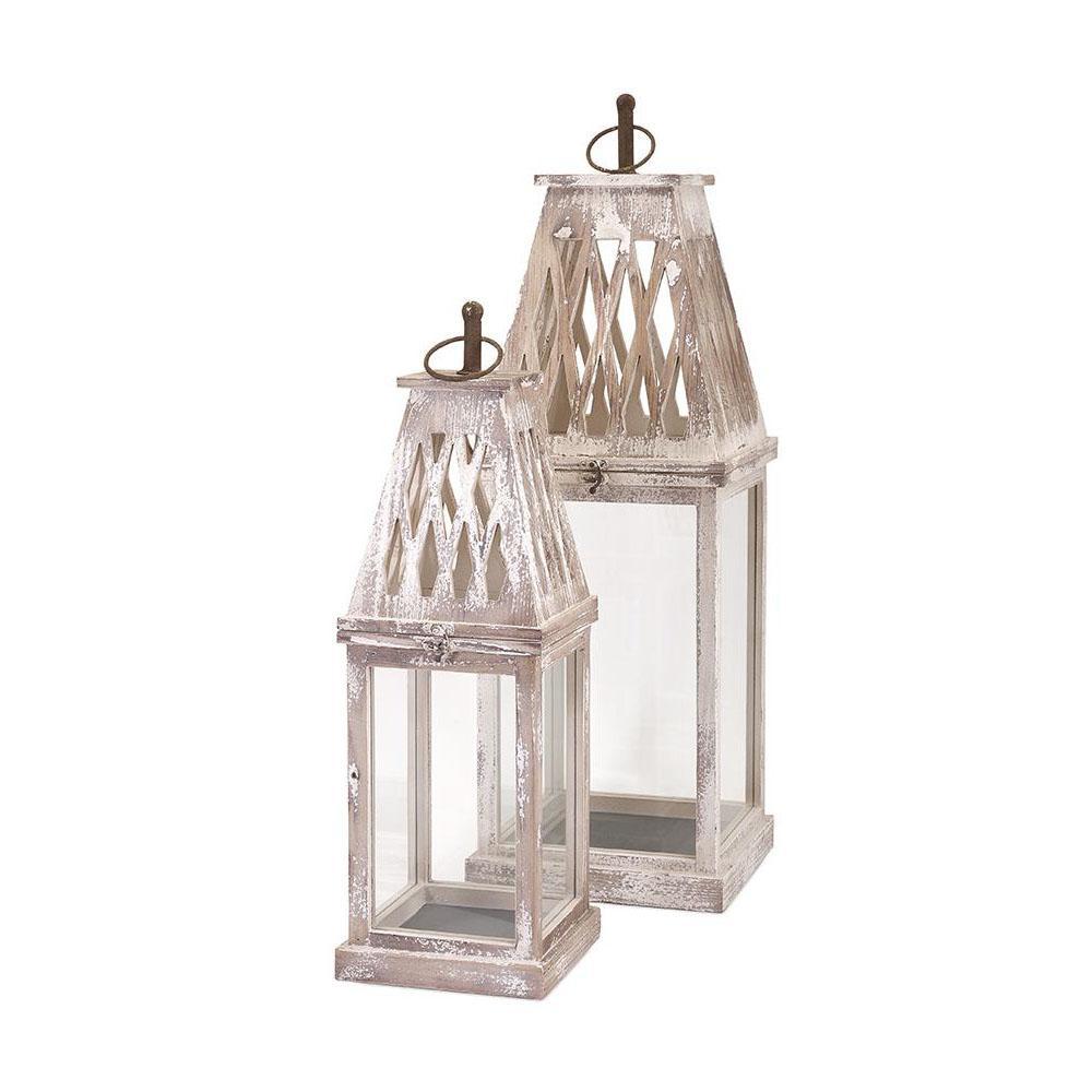 Bolton White Wash Lanterns (2-Piece)
