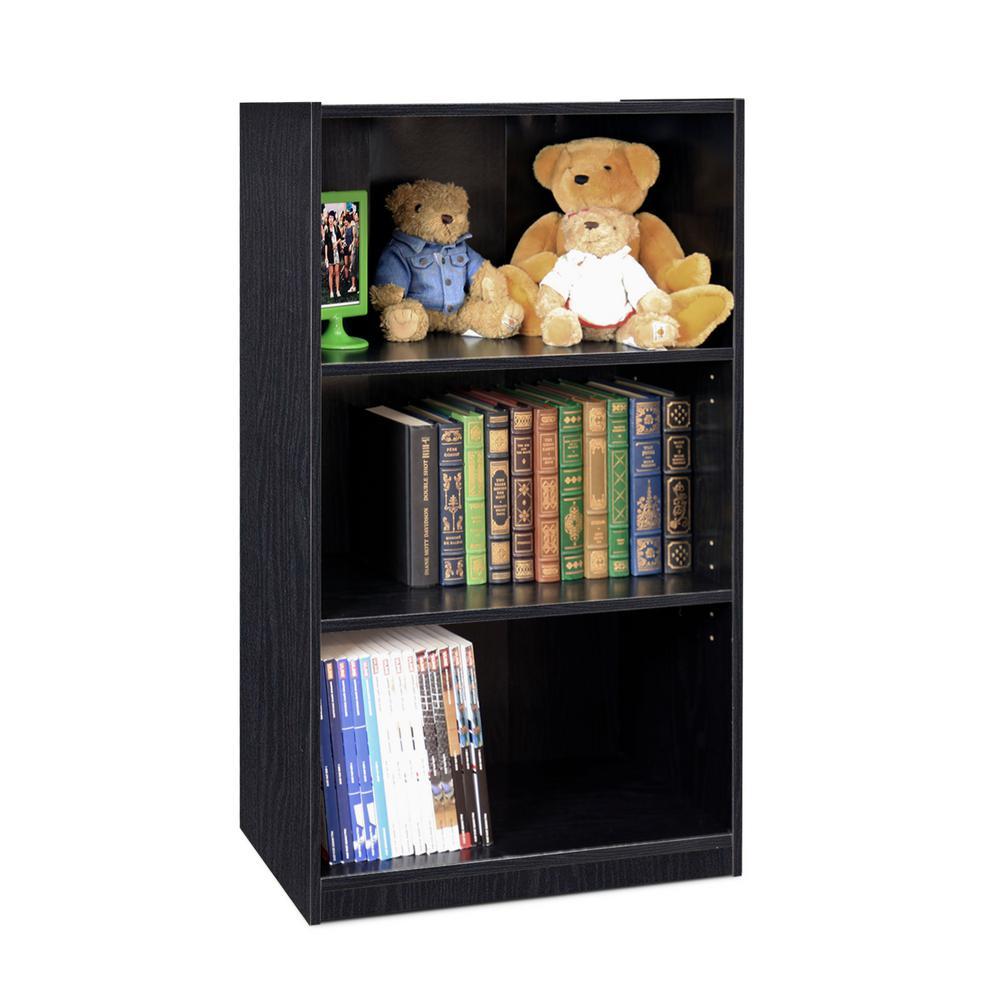 Furinno Jaya 3 Shelf Black Open Bookcase 14151r1bkw The