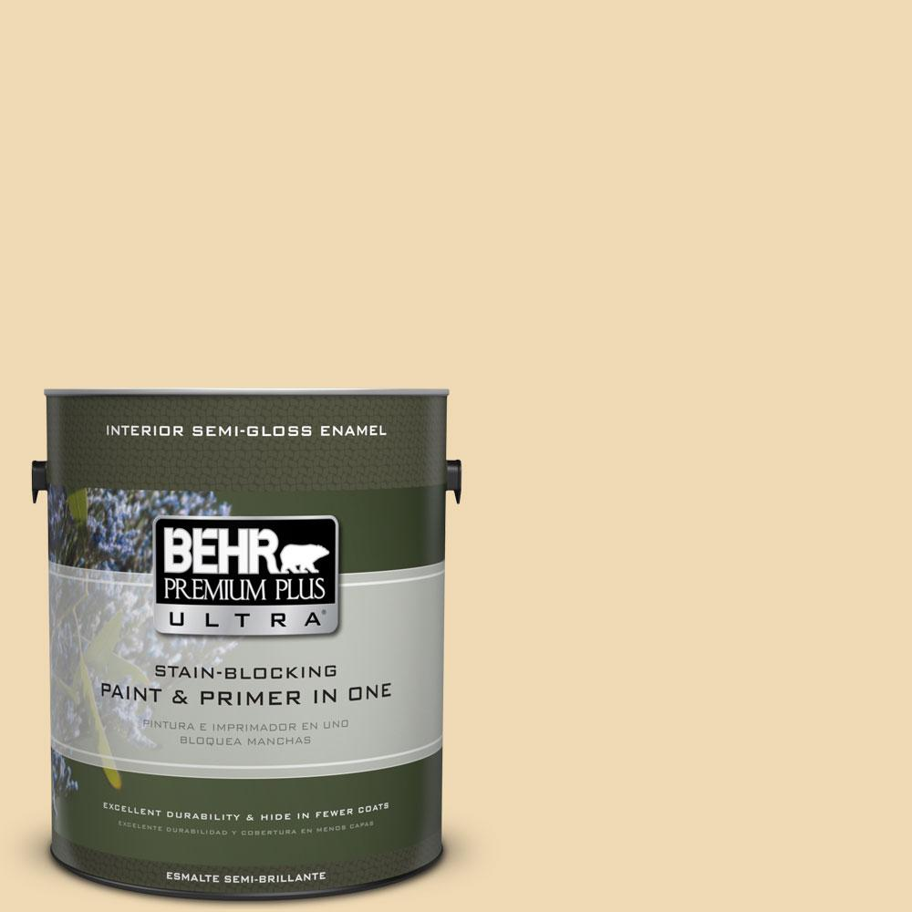 BEHR Premium Plus Ultra 1-gal. #PPU6-11 Hummus Semi-Gloss Enamel Interior Paint