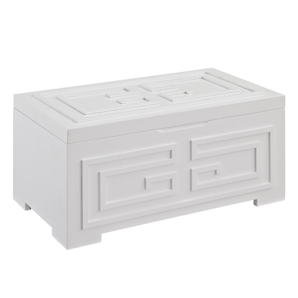 YiaYia 6.5 in. White Jewelry Box