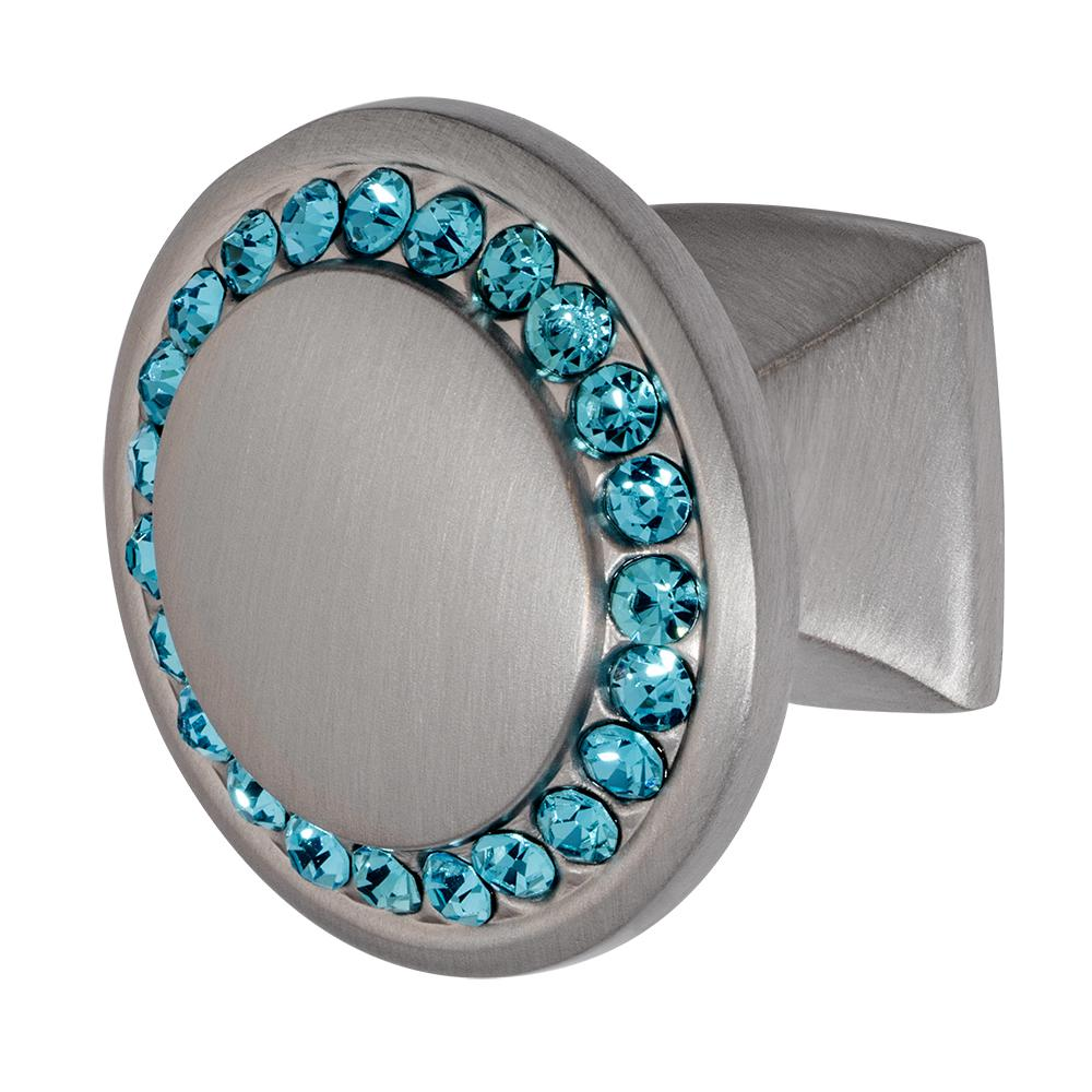 Isabel 1-1/4 in. Satin Nickel with Aqua Blue Crystal Cabinet Knob