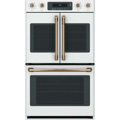 30 in. Double Electric Wall Oven with Convection Steam-Cleaning in Matte White, Fingerprint Resistant