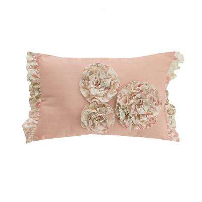 Meadow Floral Ruffled Pink Pillow