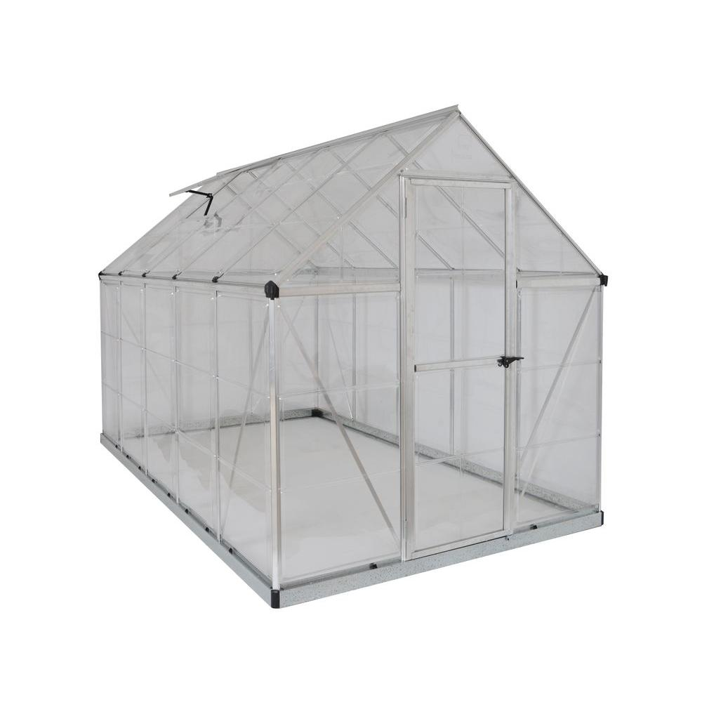 Palram Harmony 6 ft  x 10 ft  Polycarbonate Greenhouse in Silver