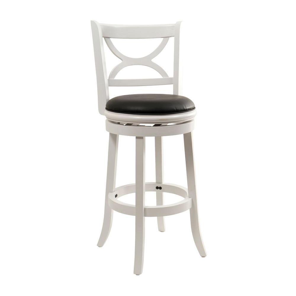 Distressed White Swivel Cushioned Bar Stool 43729