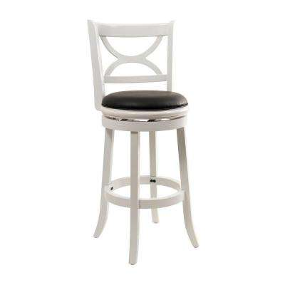 Florence 29 in. Distressed White Swivel Cushioned Bar Stool
