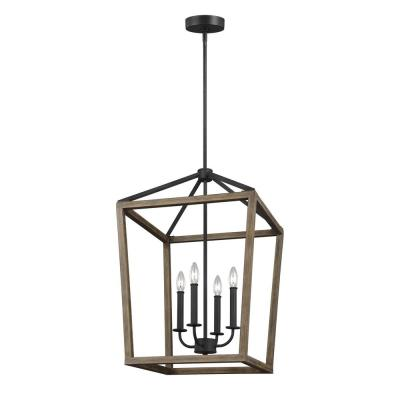 Gannet 18 in. W. 4-Light Weathered Oak Wood and Antique Forged Iron Chandelier
