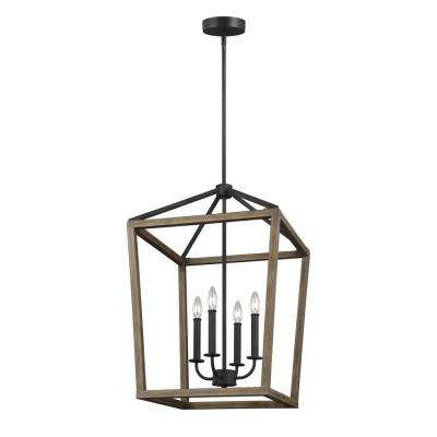 Gannet 4-Light Weathered Oak Wood and Antique Forged Iron Chandelier