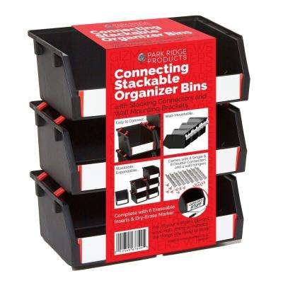 4-3/8 in. 6-Pack Stackable and Mountable Storage Bin Kit, Black (33-Piece)