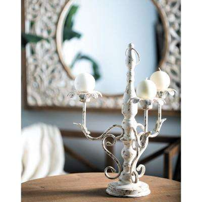 Distressed White Floral Scrollwork 3-Light Iron Candelabra