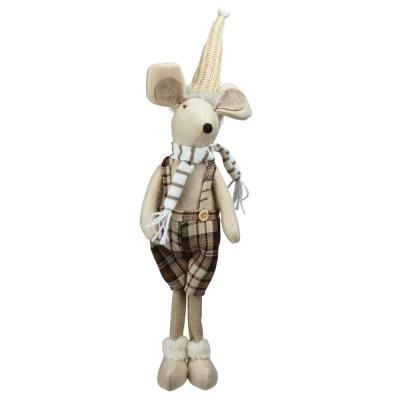 17 in. Standing Boy Mouse in Plaid Dress Christmas Table Top Figure