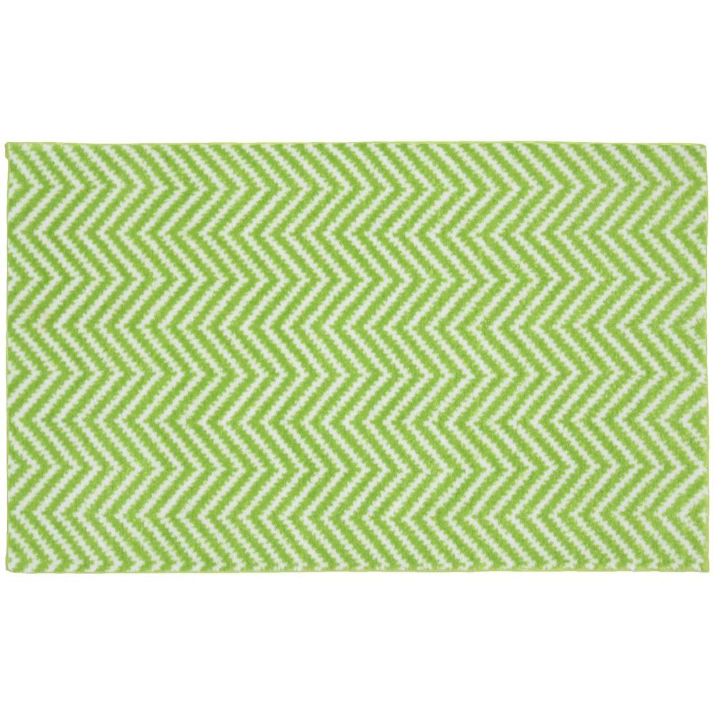 Lime Green Contour Rug: Garland Rug Palazzo II Lime/White 21 In. X 34 In. Bath Rug