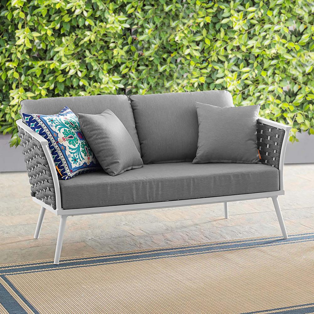 MODWAY Stance Aluminum Outdoor Loveseat in White with Gray Cushions