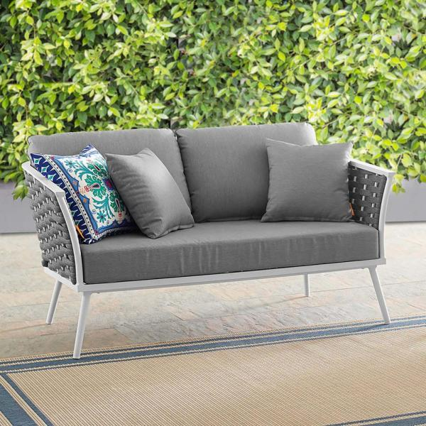 Stance Aluminum Outdoor Loveseat in White with Gray Cushions