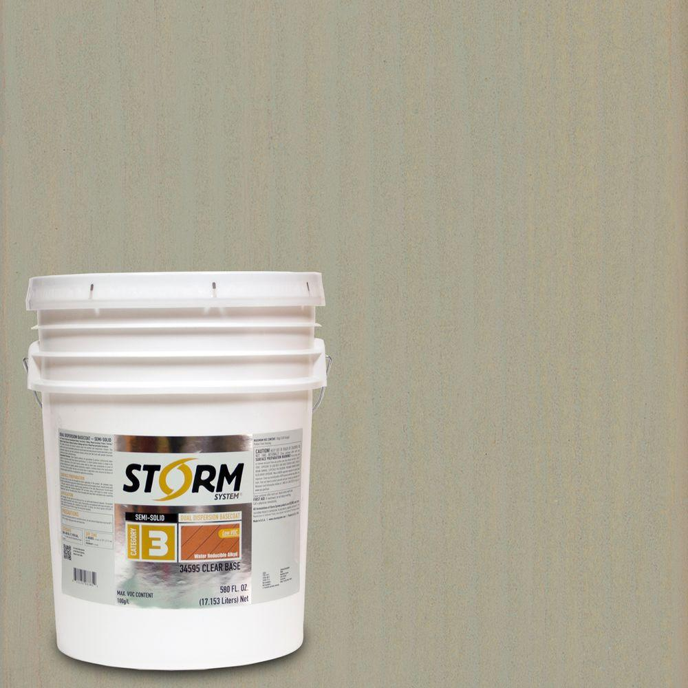 Storm System 5 gal. Seacoast Gray Exterior Semi-Solid Dual Dispersion Wood Finish
