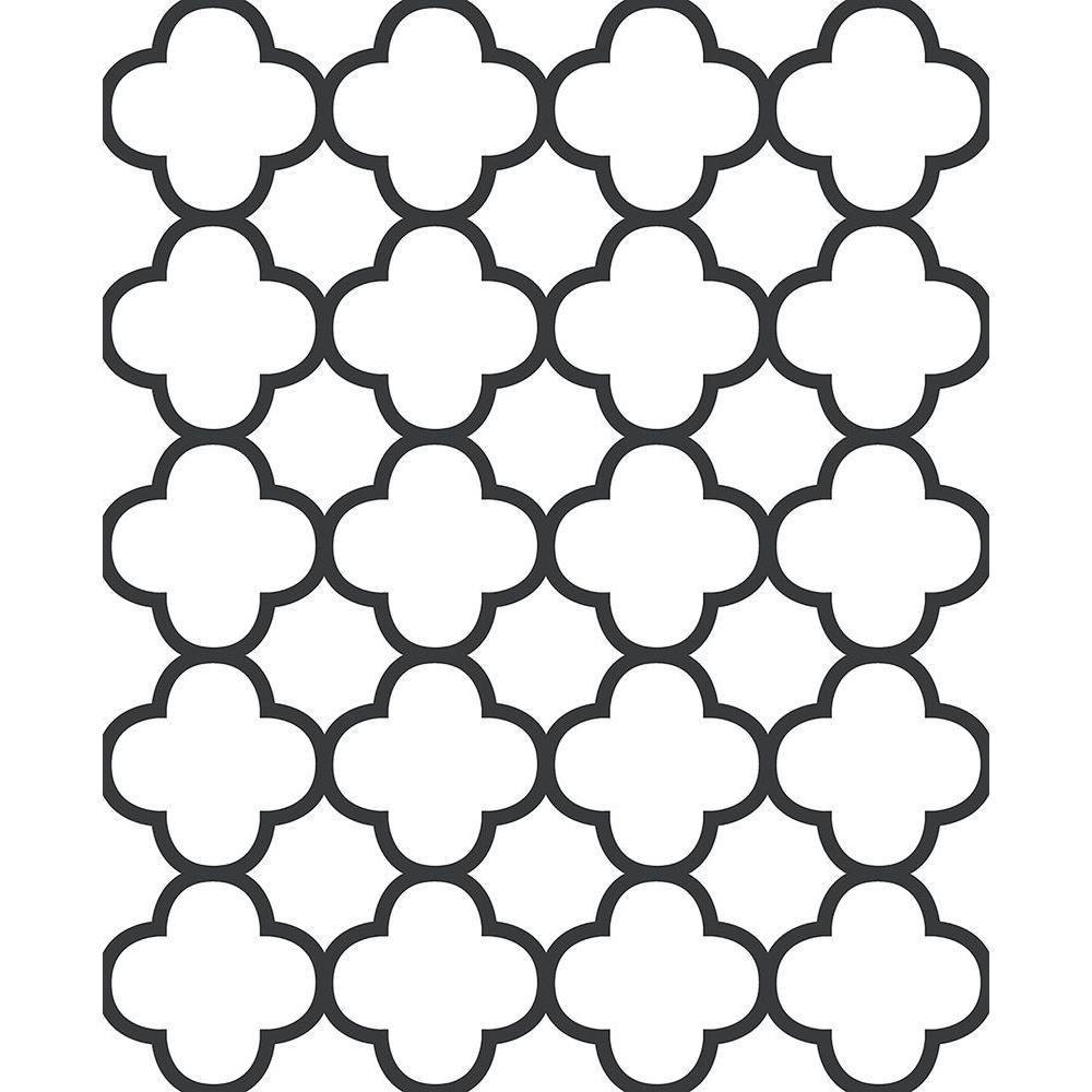 A-Street Origin Black Quatrefoil Wallpaper 2625-21858