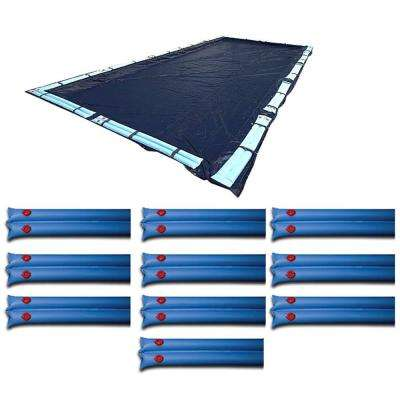 25 ft. x 45 ft. Winter In Ground Rectangular Pool Cover with Double Water Tubes (10-Pack)