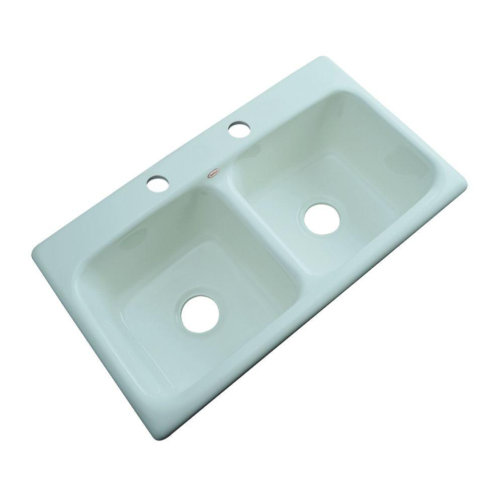 Thermocast Brighton Drop-In Acrylic 33 in. 2-Hole Double Basin Kitchen Sink in Seafoam Green