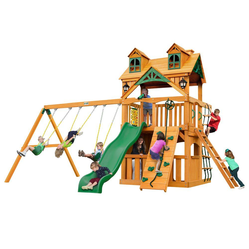 Gorilla Playsets Malibu Clubhouse Cedar Swing Set
