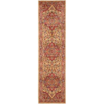 Mahal Red/Natural 2 ft. x 14 ft. Runner Rug