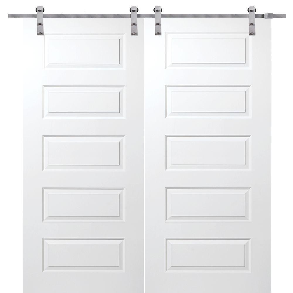 MMI Door 60 in. x 80 in. Primed Rockport Smooth Surface Solid Core Double Door with Barn Door Hardware Kit