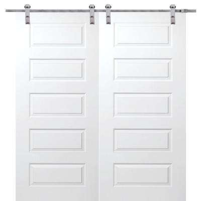 60 in. x 80 in. Primed Rockport Smooth Surface Solid Core Double Door with Barn Door Hardware Kit
