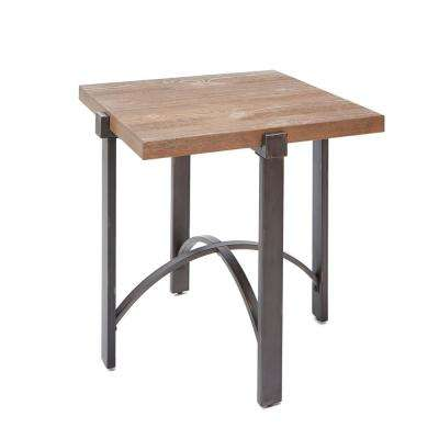 Lewis Gray and Brown Square Wood Top End Table