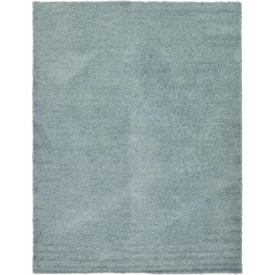 Solid Shag Slate Blue 10 ft. x 13 ft. Area Rug