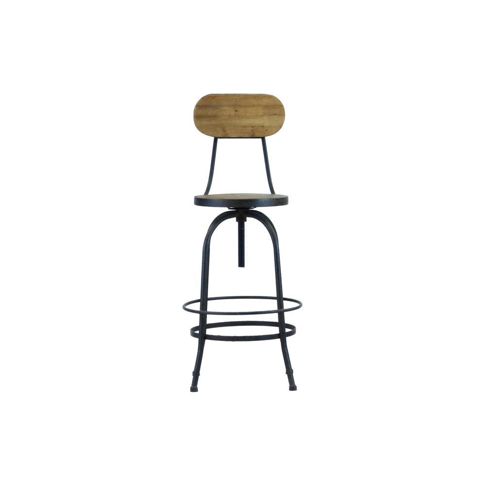 46 in. Black Reclaimed Wood Industrial Bar Chair