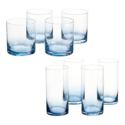 Skylar Midnight Blue Ombre 12.4 fl. oz. Double Old-Fashioned and 19.8 fl. oz. Highball Glasses (Set of 8)