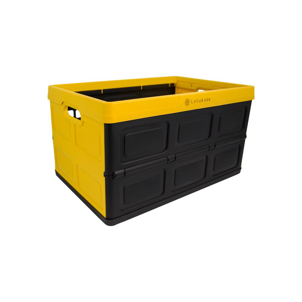 Lotus USA Foldable 48 Qt. Hardside Storage Crate in Yellow/Black
