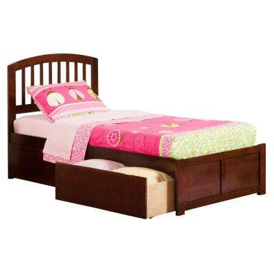 Richmond Walnut Twin XL Platform Bed with Flat Panel Foot Board and 2-Urban Bed Drawers